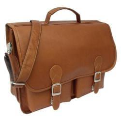 Piel Leather Executive Two Pocket Portfolio Saddle Leather