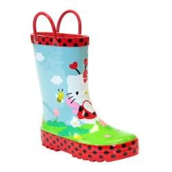 Girls' Western Chief Hello Kitty Ladybug Garden Rain Boot Red