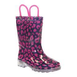 Girls' Western Chief Wild Cat Lighted Rain Boot Navy