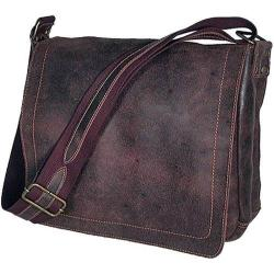 David King Leather 6111 Distressed North/South Messenger Bag Brown