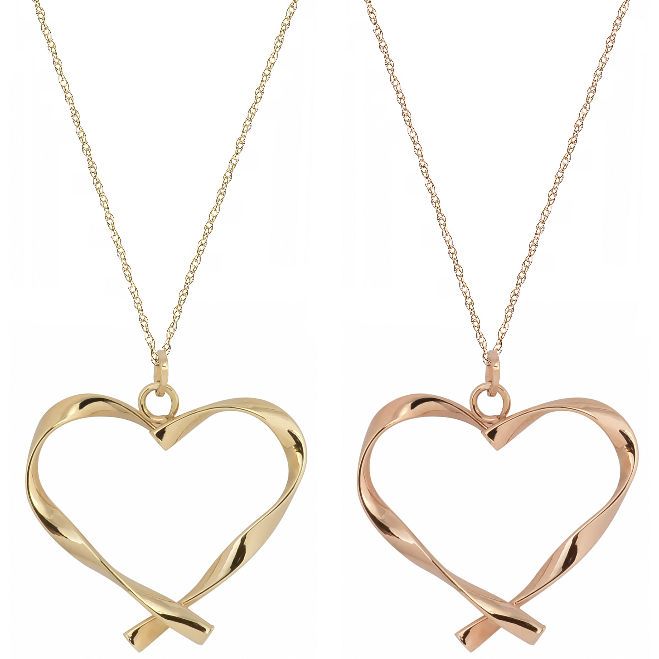 Fremada 10k Gold Twisted Heart Pendant on Delicate Rope Chain Necklace