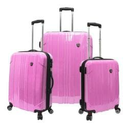 Traveler's Choice Sedona 3-Piece Expandable Spinner Luggage Set Pink