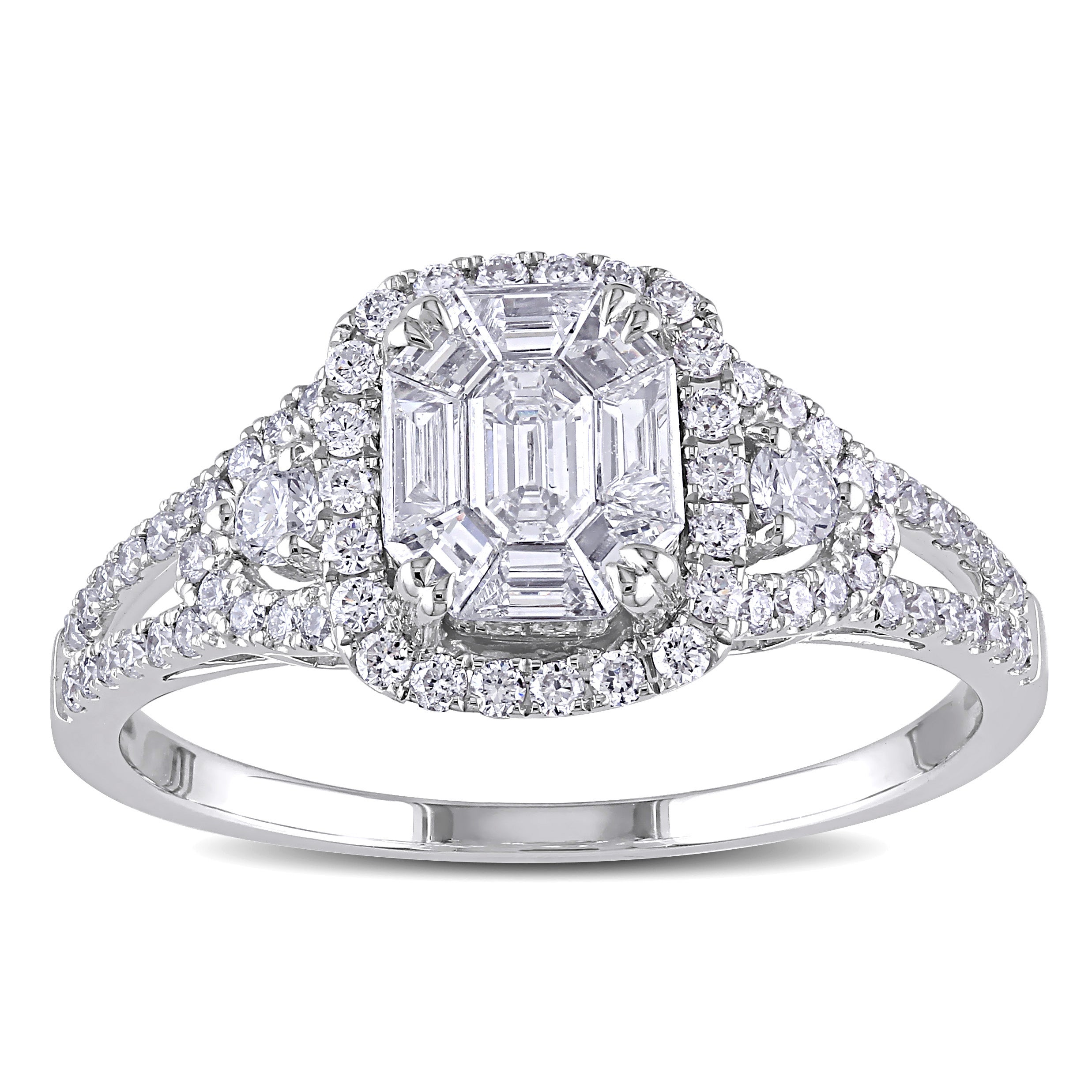 Miadora Signature Collection 18k White Gold 7/8ct TDW Diamond Composite Engagement Ring (G-H, SI1-SI2)