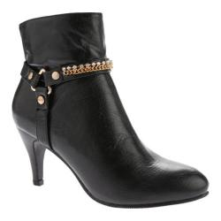 Women's Annie Sleek Black Polished Calf PU