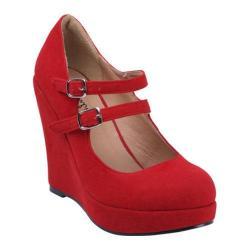 Women's Beston Dolly-4 Red Faux Suede