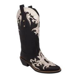 Women's AdTec 8607 13in Western Pull On Black/Off White Faux Leather
