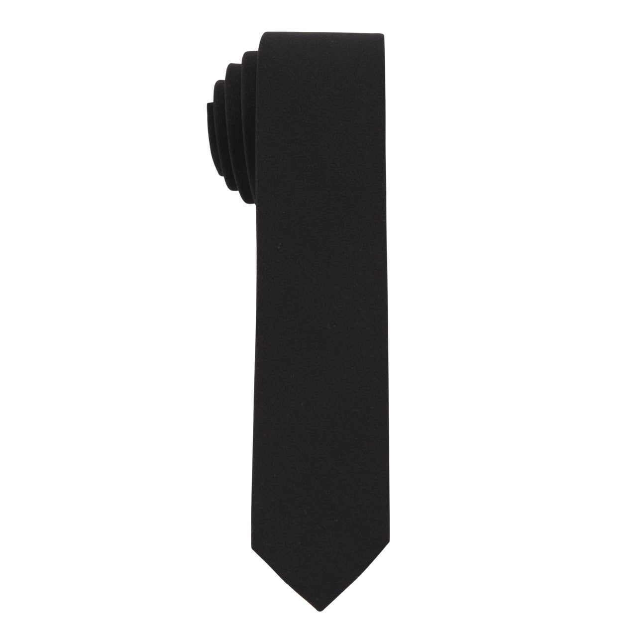 Skinny Tie Madness Men's The 'Here We Go Again' Solid Black Skinny Tie