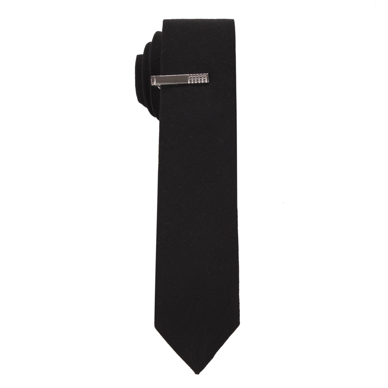 Skinny Tie Madness Men's The 'Classic Black' Solid Black Skinny Tie with Tie Clip