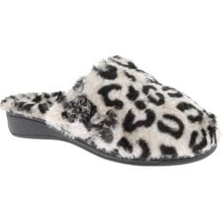 Women's Vionic with Orthaheel Technology Gemma Luxe Slipper Grey Leopard