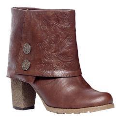 Women's MUK LUKS Chris Embossed Chunky Sole Boot Chocolate Brown