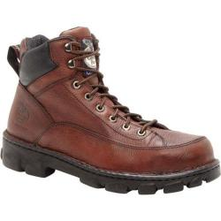 Men's Georgia Boot G63 Wide Load Safety Toe Lace To Toe Eagle Light Dark Soggy Brown Full Grain Leather