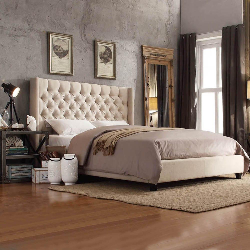 INSPIRE Q Naples Beige Linen Wingback Button Tufted Platform Bed