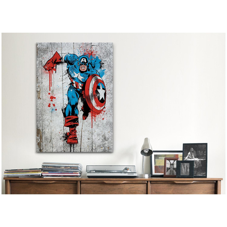 iCanvas Marvel Comic Book: Captain America Spray Paint Canvas Print Wall Art