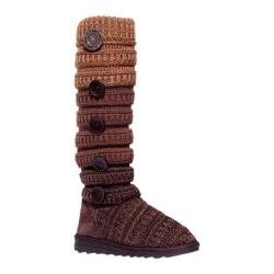 Women's MUK LUKS Miranda Marled Texture Stripe Boot Brown Ombre