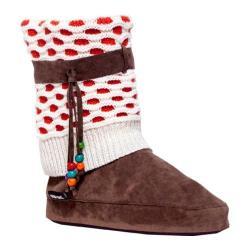 Women's MUK LUKS Sofia Knit Cuff Slipper Boot Mango Fizz