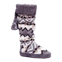 Women's MUK LUKS Winona Cuff Slipper Boot Blue Steel