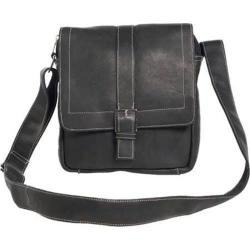 David King Leather 8469 Deluxe Medium Messenger with Buckle Black