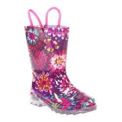 Girls' Western Chief Abstract Blooms Lighted Rain Boot Purple