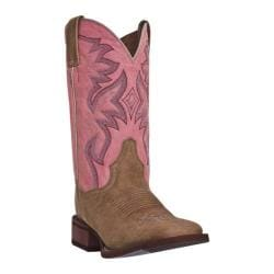 Women's Dan Post Boots Cowboy Certified Mystic DP3816 Tan Crazy Horse Leather/Pink
