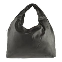 Women's R&R Leather Hobo Bag 2-398-1B Black