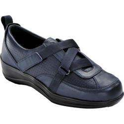 Women's Orthofeet 881 Z-Strap Navy Smooth Leather