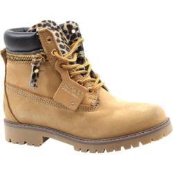 Women's Bronx Yippy Zippy Dark Yellow/Leopard Nubuck/Pony/Nappa