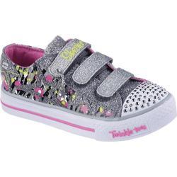 Girls' Skechers Twinkle Toes Shuffles Glitter N Glitz Gray/Pink