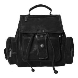 David King Leather 6331 Mid Sized Distressed Top Handle Backpack Black