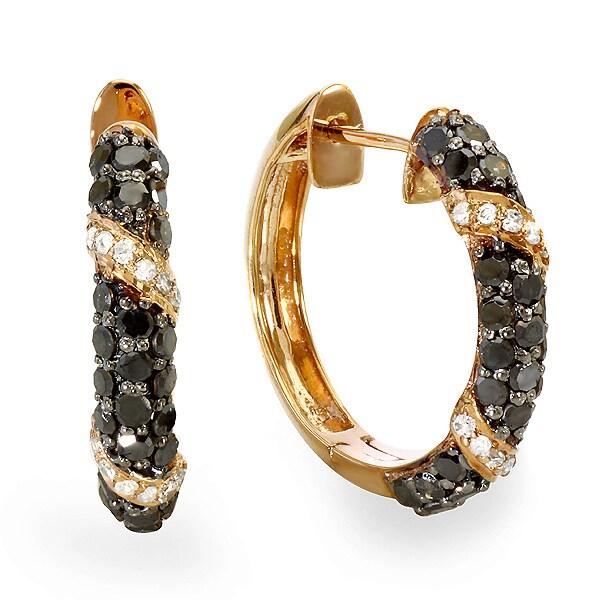 18k Rose Gold Plated Sterling Silver 1ct TDW Black Diamond Hoop Earrings (I-J, I2-I3)