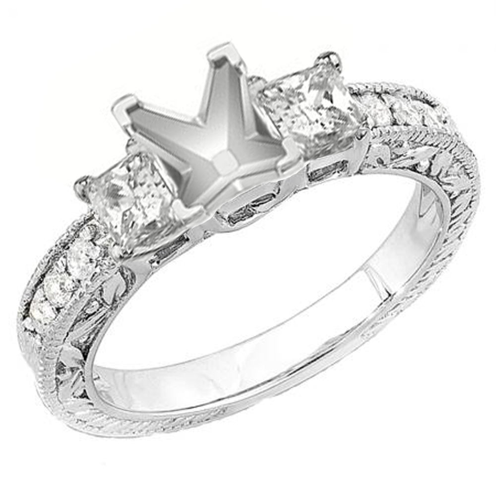 14k White Gold Princess Diamond TDW 3/4ct Semi Mount Ring (H-I, I1-I2)