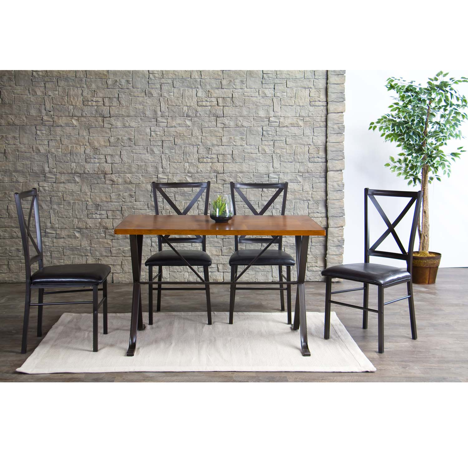 Baxton Studio Rexroth Metal Contemporary Dining Chairs Set of 4