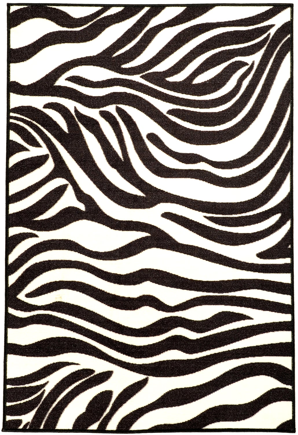 Pink Collection White, Black Animal Print Zebra Design Area Rug (3'3 x 5')
