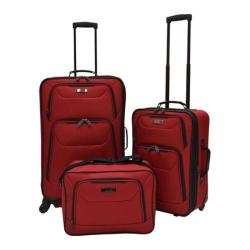 US Traveler Delmont 3-Piece Expandable Luggage Set Red