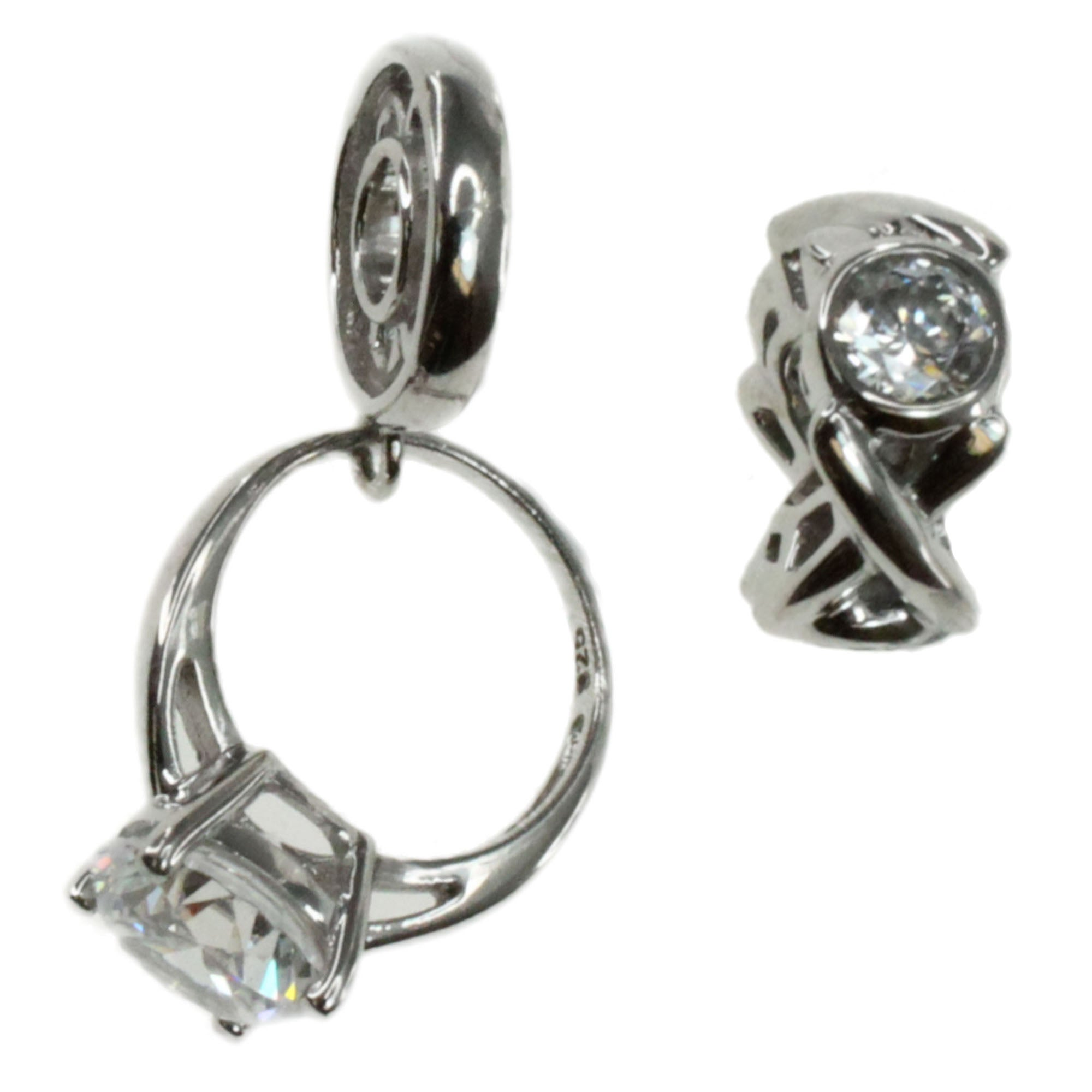 Michael Valitutti Sterling Silver Ring and XOXO Charm Set