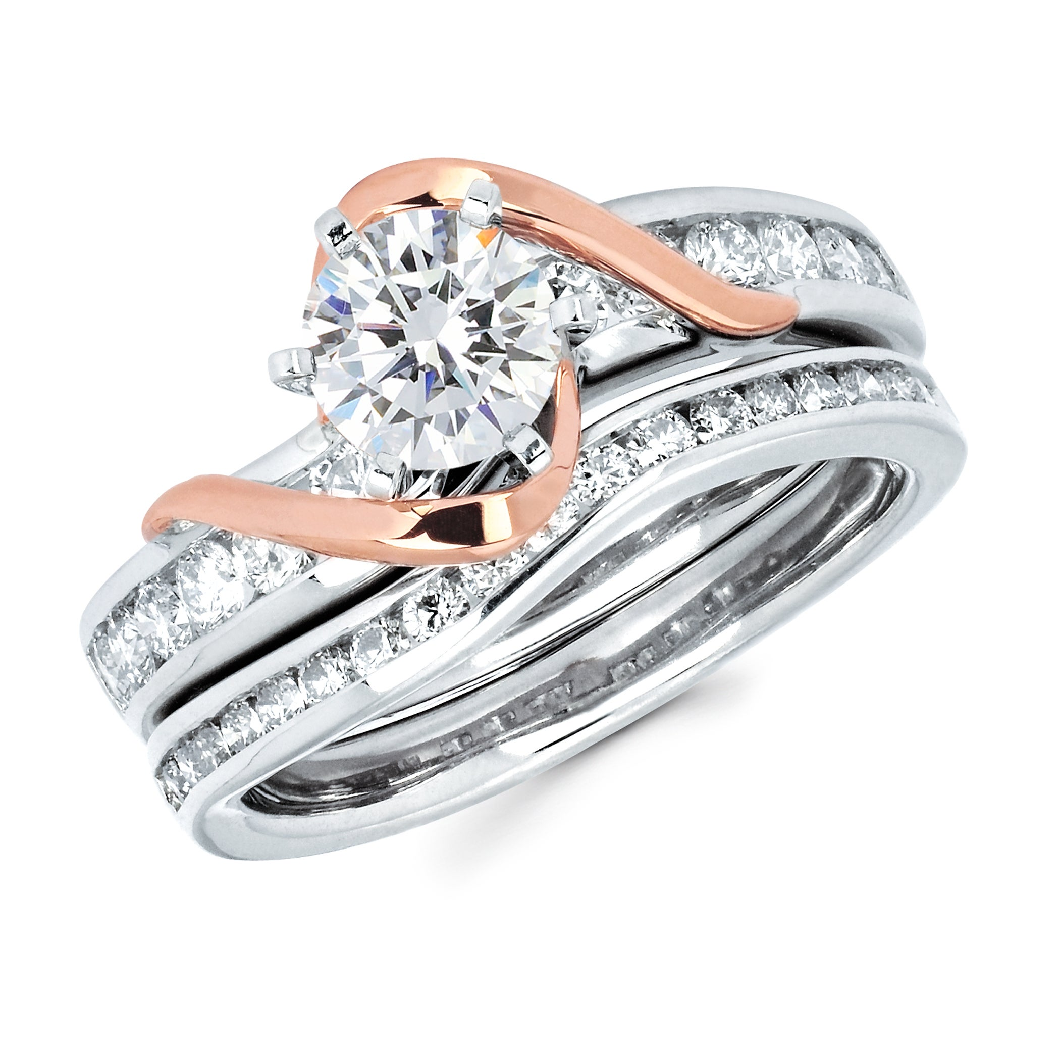 14k Two-tone Gold 1 1/2ct TDW Solitaire Diamond Bridal Set (I-J, I1-I2)