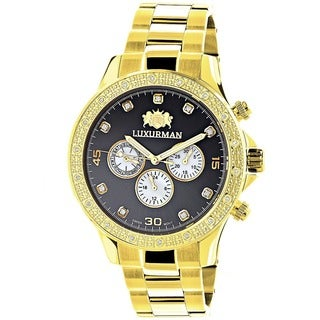 Luxurman Men's Goldtone Stainless Steel Diamond Accent Water-Resistant Quartz Watch