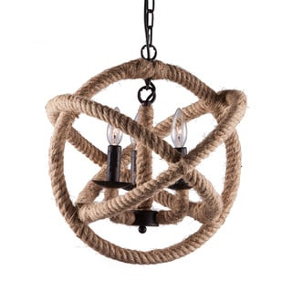 'Caledonite' Twined Rope 3-light Ceiling Lamp