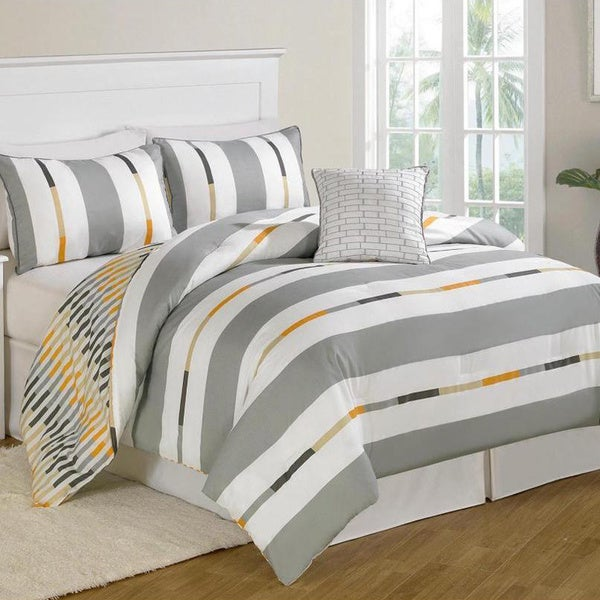 Prinston Stripe Grey 8-piece Bed in a Bag with Sheet Set