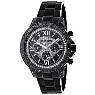 Luxurman Men's Black Stainless Steel Diamond Watch