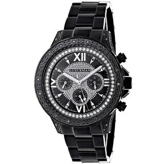 Luxurman Men's Black Stainless Steel Diamond Watch with Metal Band and Extra Leather Straps