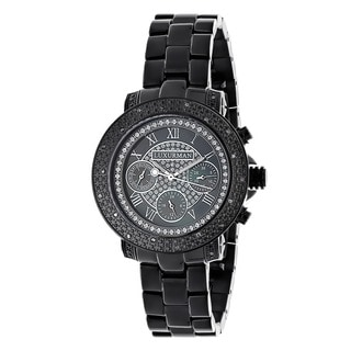 Luxurman Women's Black Water-resistant Diamond Watch
