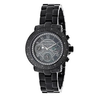 Luxurman Women's Black Water-resistant Diamond Watch Metal Band plus Extra Leather Straps