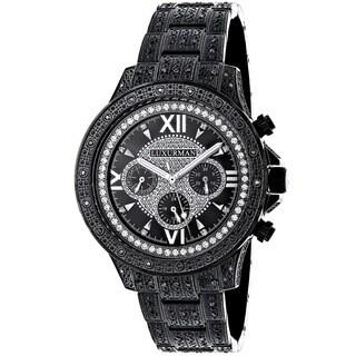 Luxurman Men's Black Stainless Steel and Black Diamond Quartz Watch