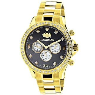 Luxurman Men's Goldtone Stainless Steel Diamond Accent Quartz Watch with Deployment Clasp