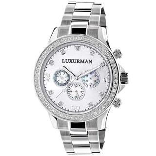 Luxurman Men's Limited Edition Stainless Steel Diamond Accent Quartz Watch