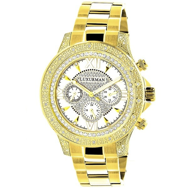 Luxurman Men's Goldplated Stainless Steel Diamond Accent Quartz Watch Metal Band plus Extra Leather 11961955