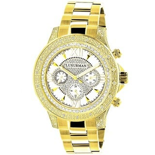Luxurman Men's Goldplated Stainless Steel Diamond Accent Quartz Watch