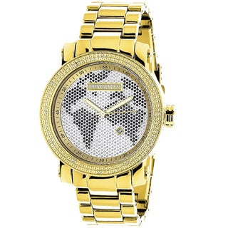 Luxurman Men's Gold-Tone Stainless Steel World Map Dial Diamond Accent Watch