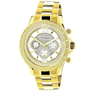 Luxurman Men's Goldtone Stainless Steel Diamond Accent Chronograph Quartz Watch