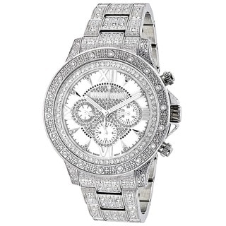 Luxurman Men's White Goldplated Stainless Steel Diamond Accent Quartz Watch Metal Band plus Extra Leather Straps